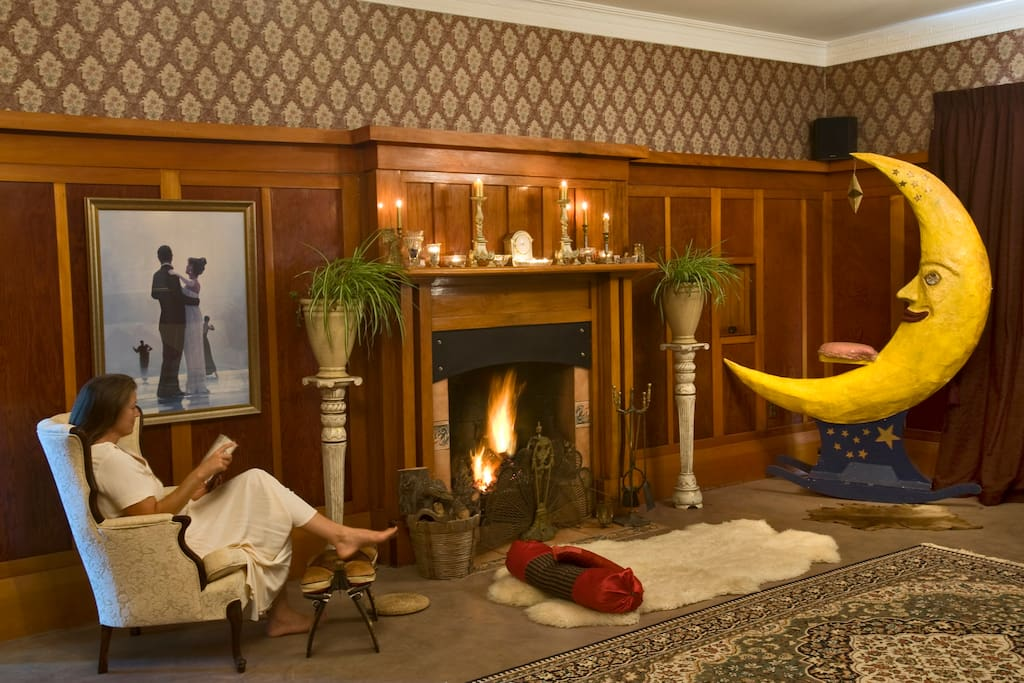 The Ballroom is a lovely place to dance! Enjoy a movie on a large screen, BYO DVD. Lay on the sheep skin rug in front of a fire with your lover.