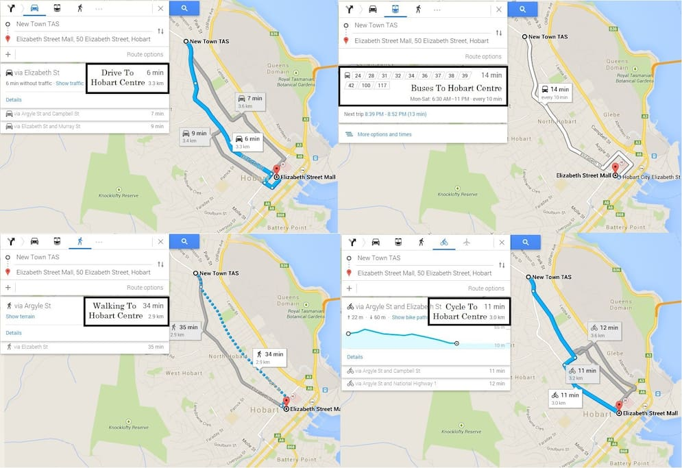 4 Transport ways, Time & Kms between New Town & Hobart City Centre TAS
