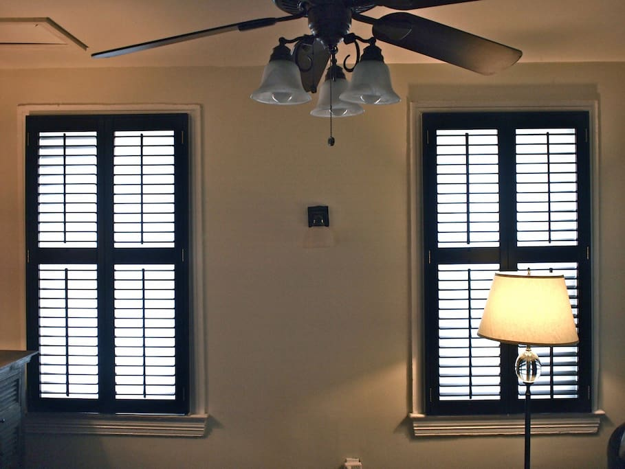 behind the shutters are white double honeycomb blinds