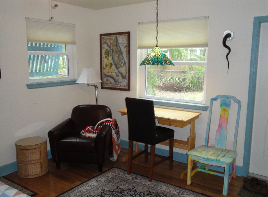 Your reading, writing, working corner with a great view of the side garden