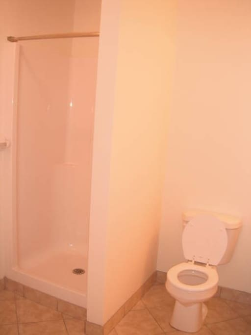 Left side of bathroom.