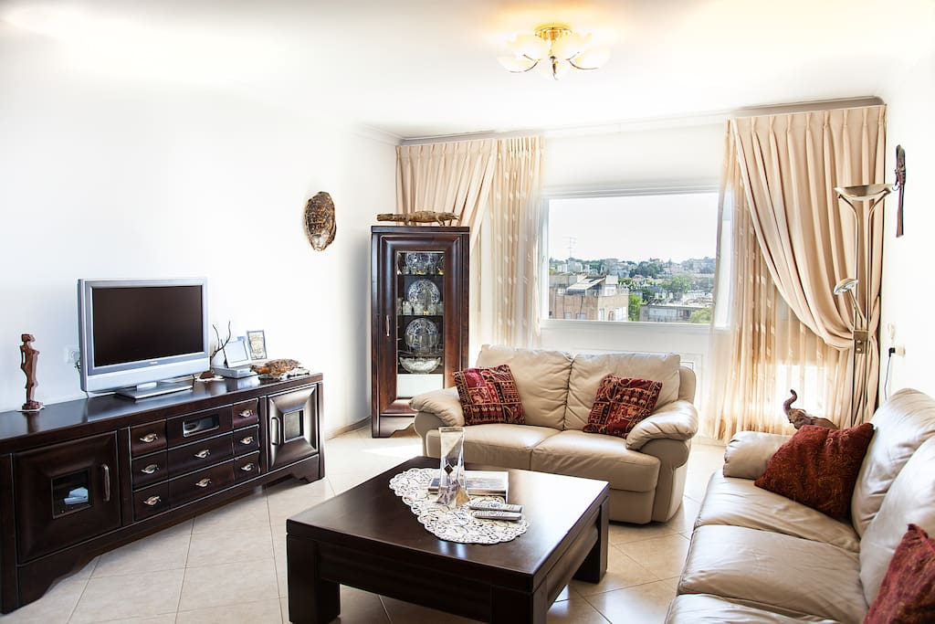 Welcome! Living room - view from the entrance door, LCD Satellite TV + DVD, leather sofas, wooden Italian furniture, granit floor