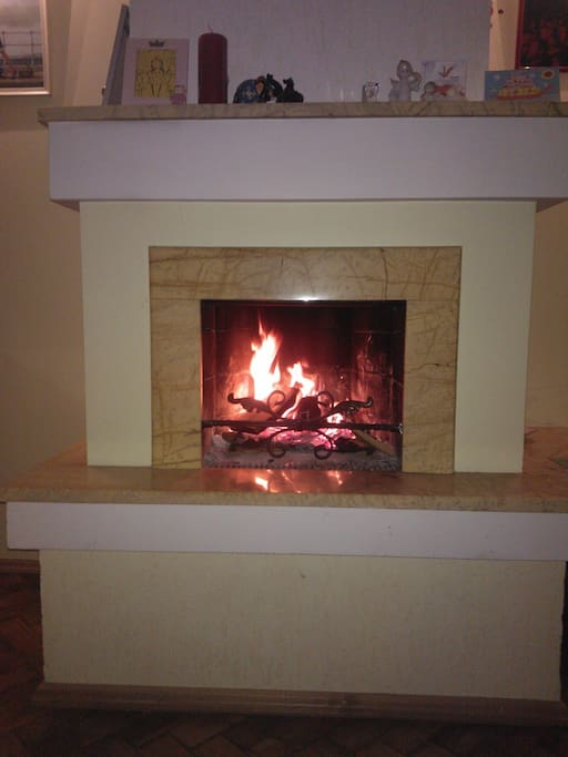 If you felt cold on the street, you can relax in the front of a fireplace.
