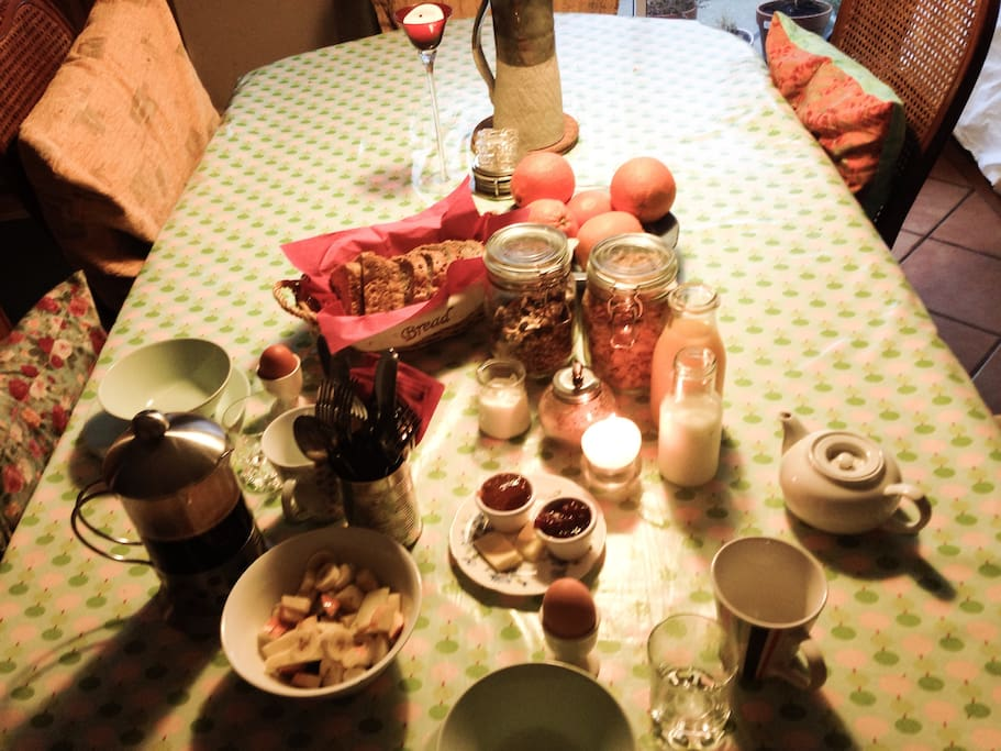 Breakfasct- cereals, homemade granola, brown bread, jams, eggs, juice, tea and coffee, fruit salad