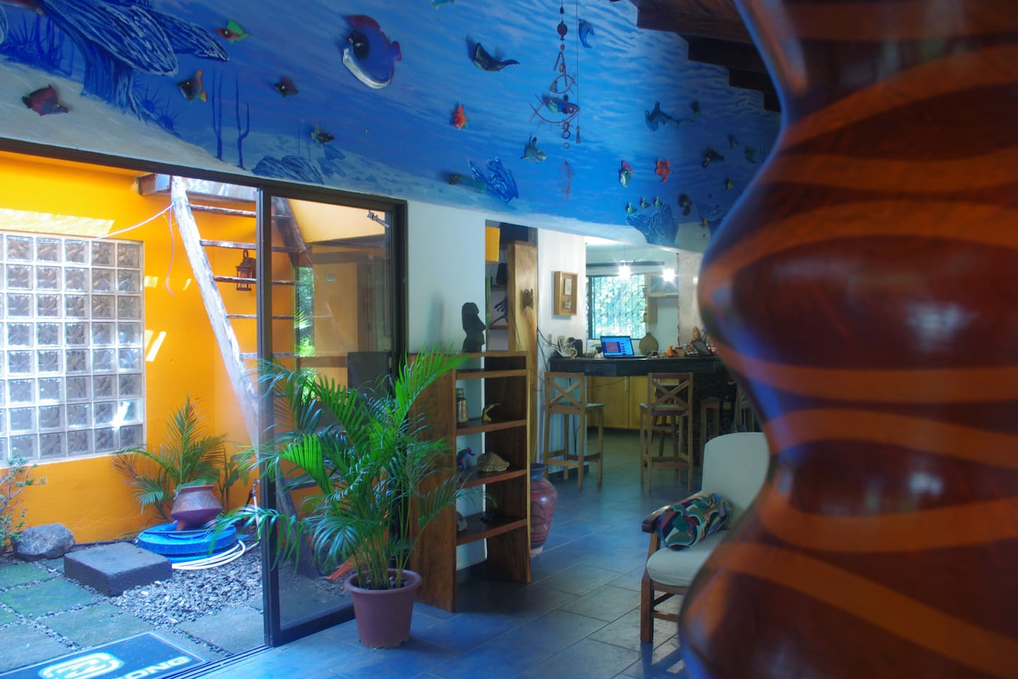 The main focus of the entire living area is an undersea mural with 30 3D handmade sea life sculptures. It's amazing!