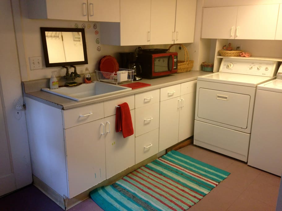 laundry/kitchenette area with microwave, coffeepot/etc.