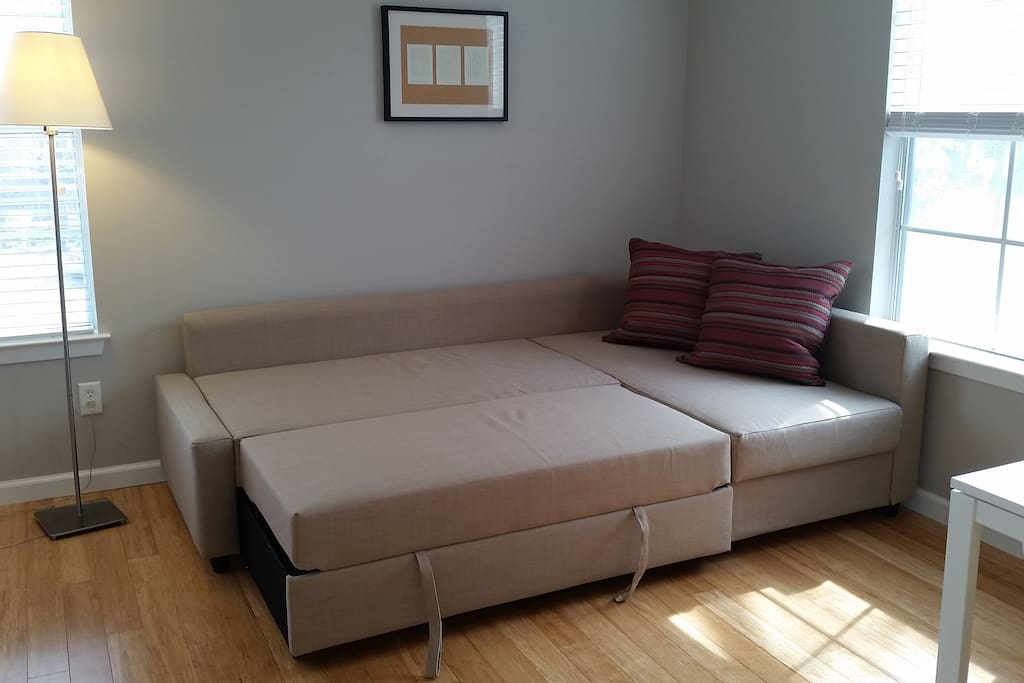 Sofa  converts easily into a bed for 2 people.  Linens for the sofa can be provided on request.