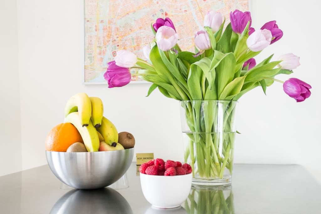 Fruit and flowers welcoming you