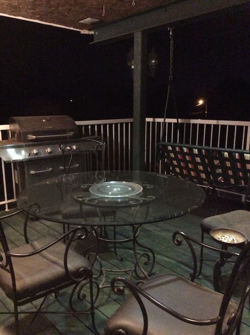 Covered deck patio BBQ
