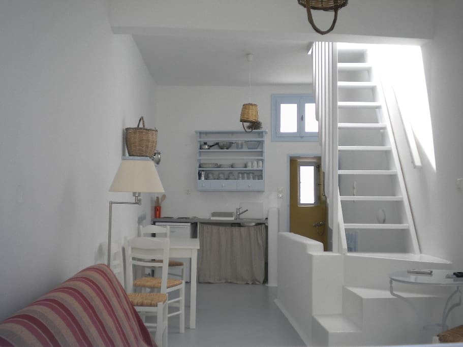 2 floor house + terrace: this is the first floor with kitchen and stairs to the terrace. the bedrooms are downstairs