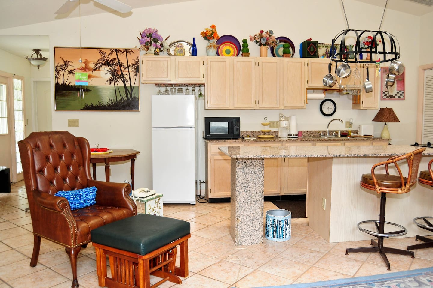 Full kitchen with just everything you need for a long stay