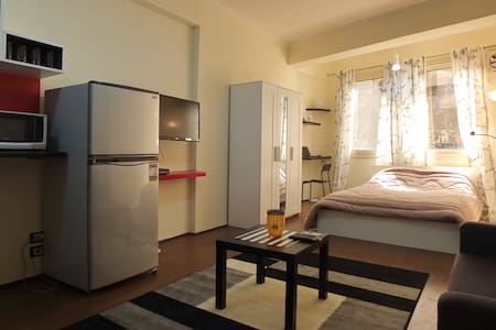 Fully furnished, equipped and air-conditioned studio flat in the heart of safe upper-scale Zamalek neighborhood in Cairo, a few steps from the best bars and restaurants in town, 5-minute walk from the Nile and a 10-minute walk from the infamous Cairo Opera House.