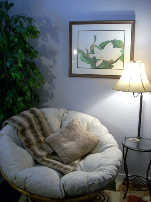 The reading/ dozing area in the master bedroom. Cozy!