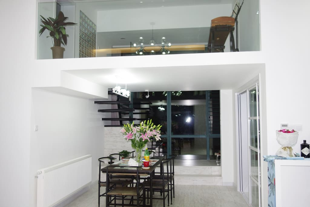 Glance at dining area and 2nd floor