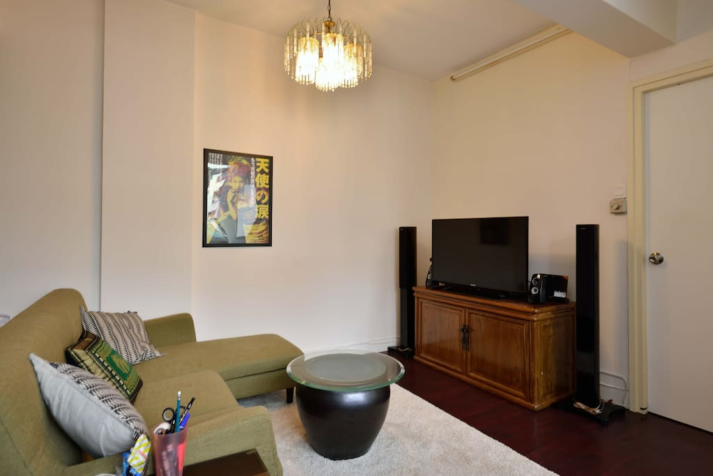 Living room with large-screen TV and speaker system