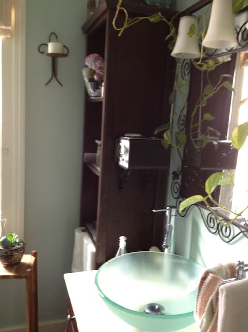 bowl vanity and even a radio with iPhone dock so you can stream Pandora while in the shower! Did I mention I have WiFi?