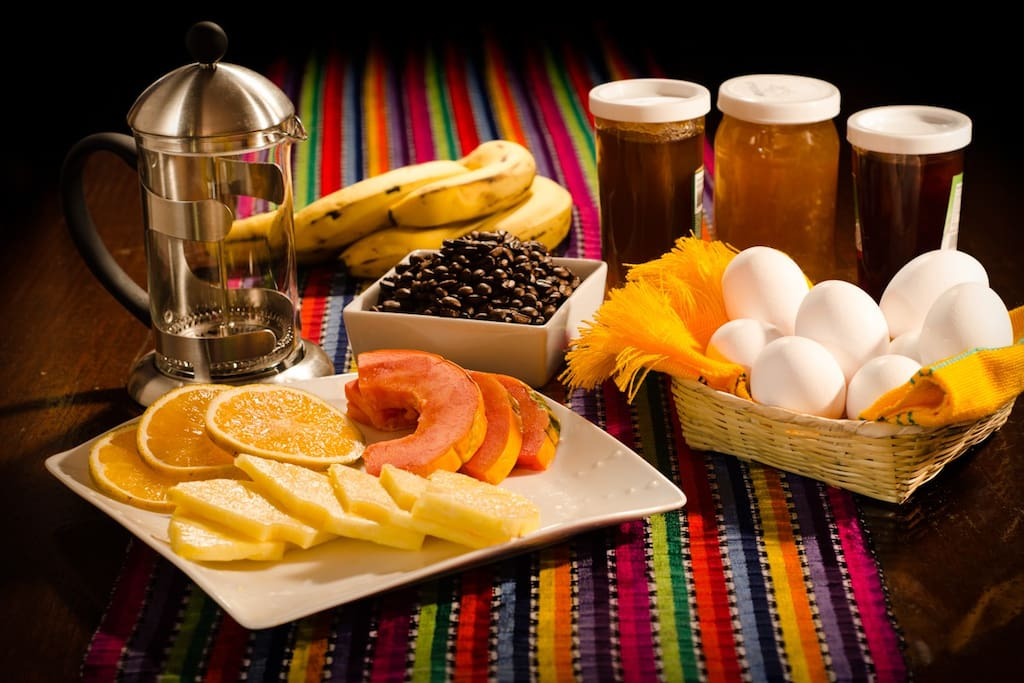 I offer you food items to cook and serve yourself: bread, jelly, eggs, fresh local fruit and coffee maker to prepare your freshly ground coffee.