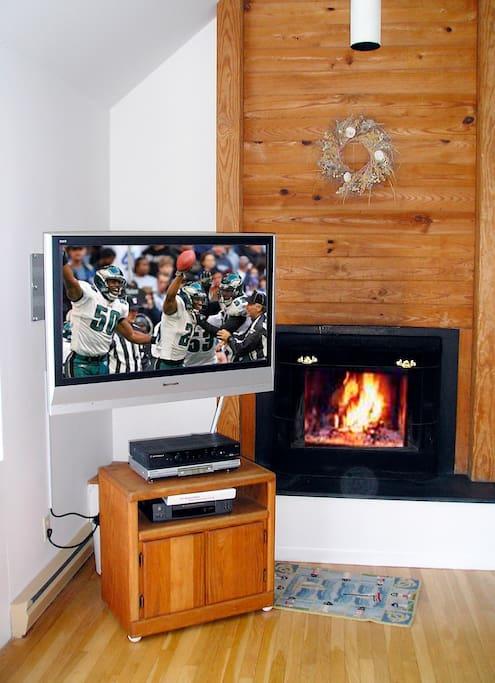 Cozy Fireplace, Free Firewood & Plasma TV at thePonyIsland House