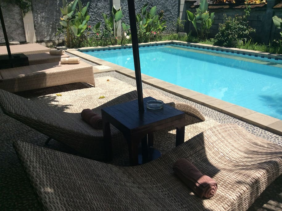 Large Swimming pool, which is 10 meters from the villa,shared with a few other villas, but never busy