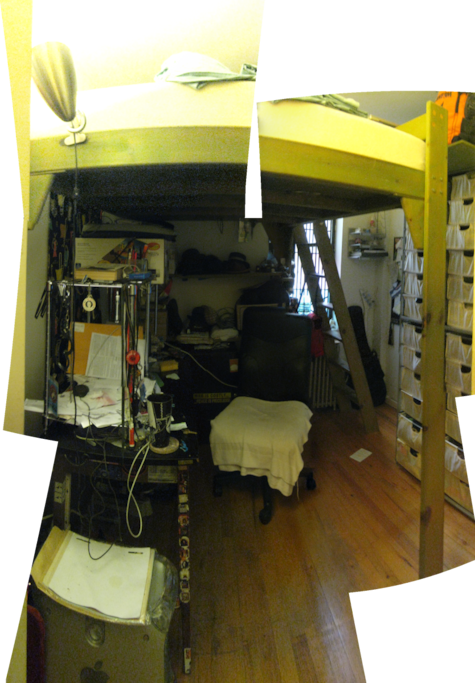 "another stitch up job looking into the bedroom. the images are not perfectly aligned, but you get a sense of what most of the room looks like. i am 167cm/5'6"" and can walk underneath the loft bed upright, and someone a little bit taller will also fit."