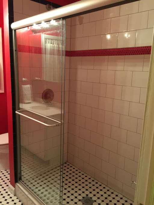 Large shower in the shared hall bathroom.