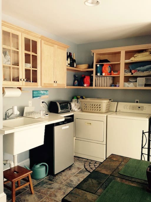 Small refrigerator sink and counter cabinets microwave toaster oven