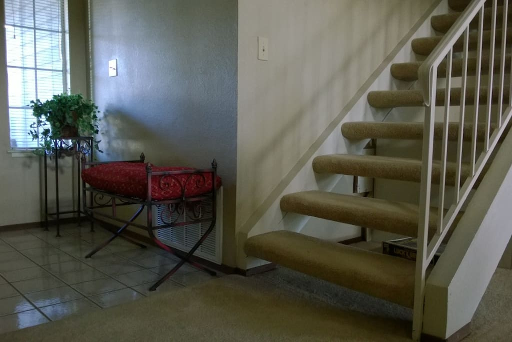 Our guestroom and bath are located up one set of stairs.