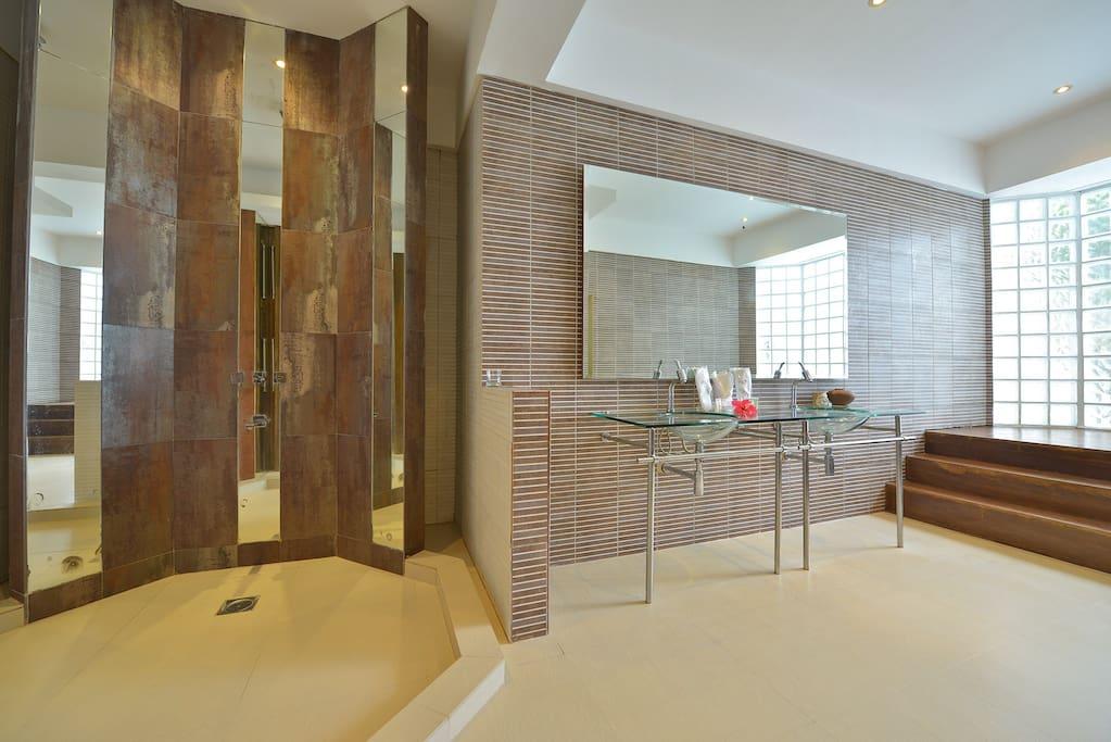 Modern spacious master bathroom with rain shower and bathtub