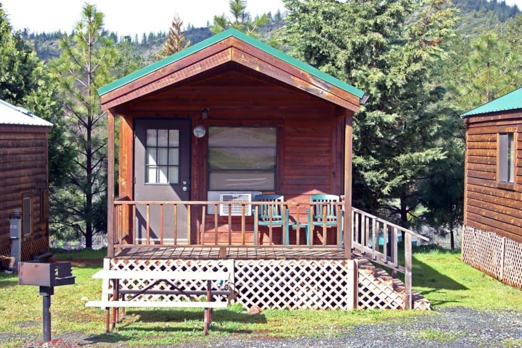 Deluxe cabin porch.