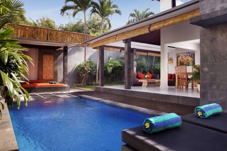 Luxury 2Bed Villa 3 min to d beach