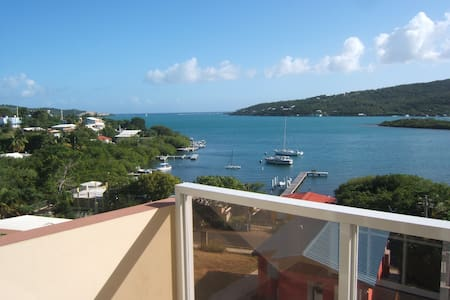 At Hillbay View villas we offer our guest fully equipped villas for 2 with a spectacular view of Culebra's Bay.  You can enjoy our cool and charming 2 bed villa with a  balcony. We are centrally located and only 5 minutes from Flamenco beach.