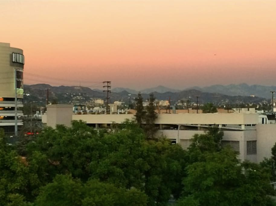 View from the living room balcony at sunset. Hollywood sign!