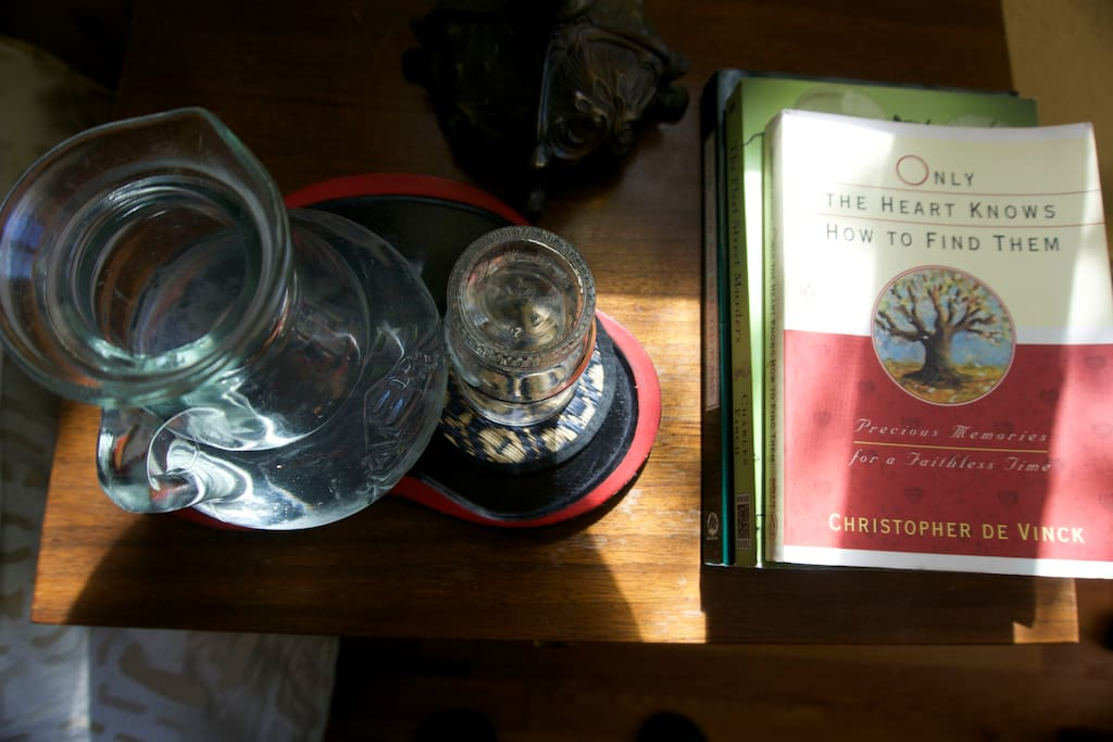 Filtered water, bedside reading