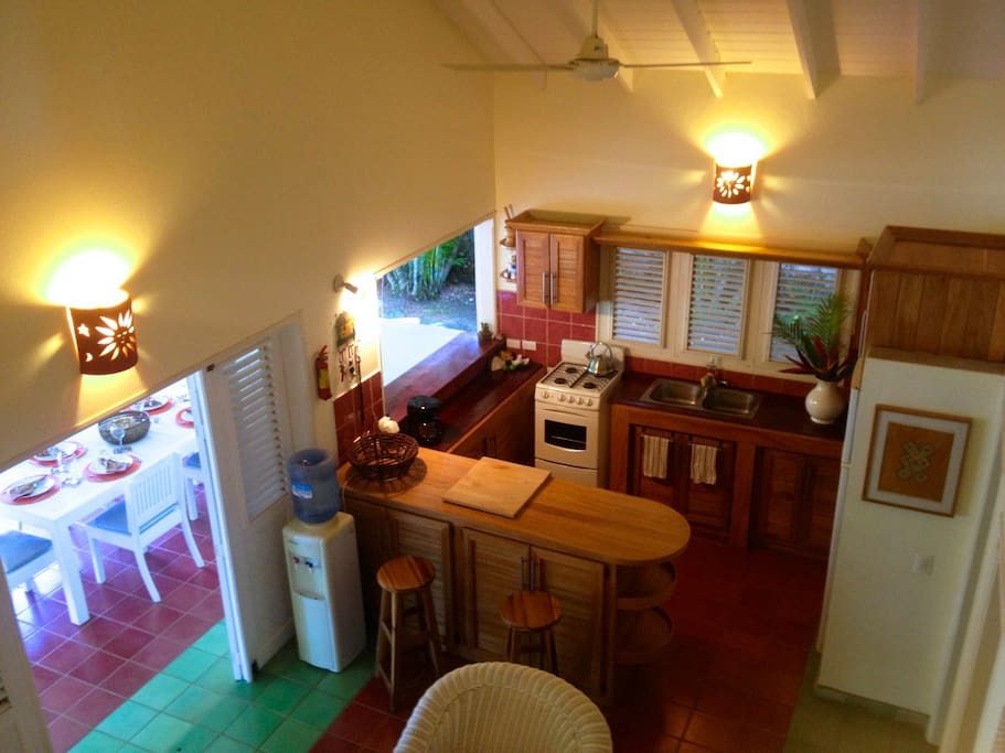Kitchen seen from top of stairs