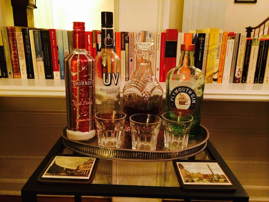 Help yourself to a complementary drink from the drinks tray