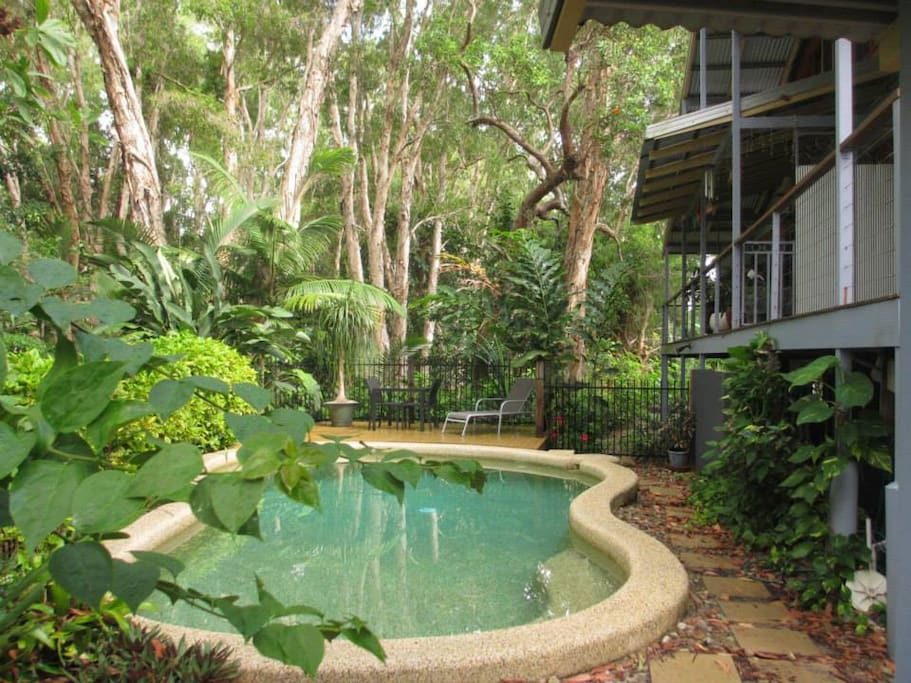Lovely cool inground salt water pool. very private with BBQ area available.