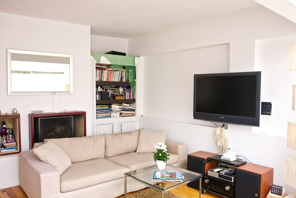 Living room is comfy ! lcd tv, nice couch, great music system, interesting books