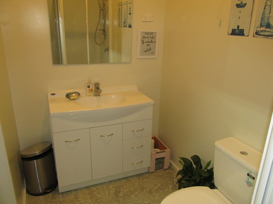 New bathroom with high pressure shower