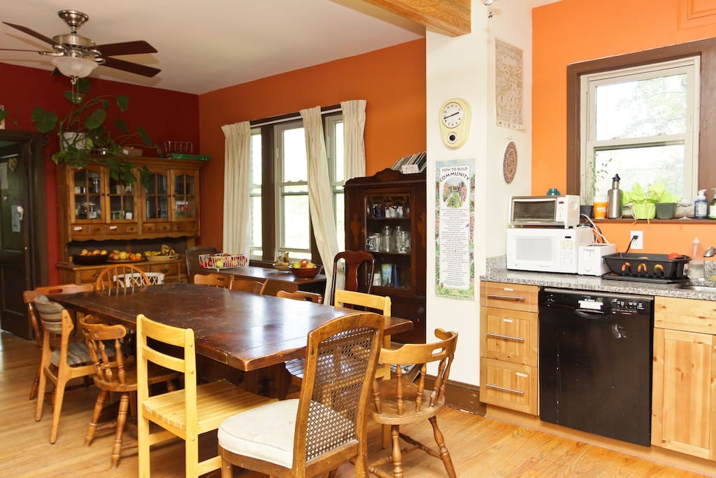 Dining Room. Our kitchen, dining room, and living room have an open-space format.