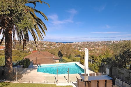 Beautiful Vaucluse house with pool with views of Bondi beach and harbour and bridge views from street Newly renovated with stylish bathrooms and lush garden and pool