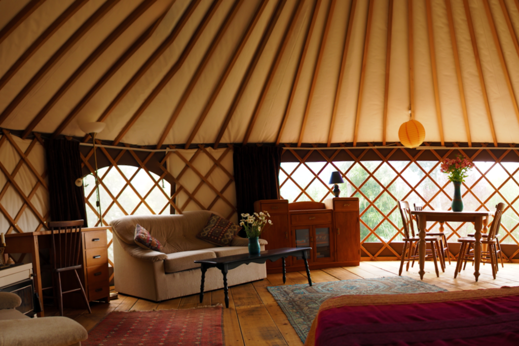 The spacious interior of the yurt.