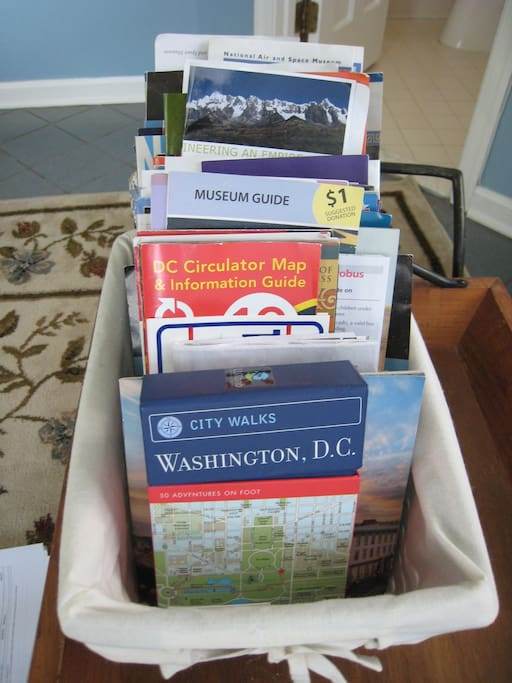 Maps, brochures and 4 of our favorite guidebooks!