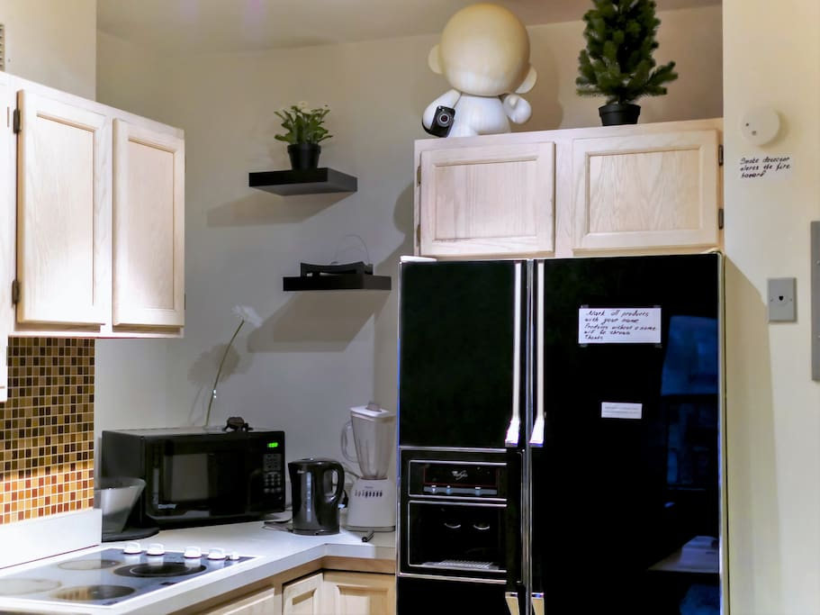 You can use everything at the kitchen, there is so many useful stuff here. And we also have sirviliance cam there that is protect us, recording everyone who is coming in to apartment