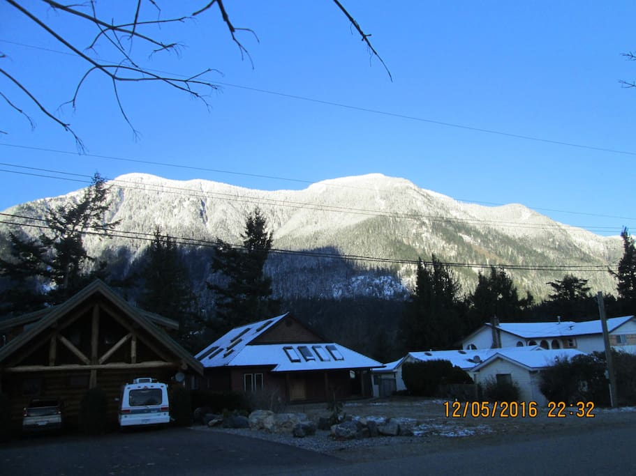 Morning..Across the street the Fraser River and mountains above it.
