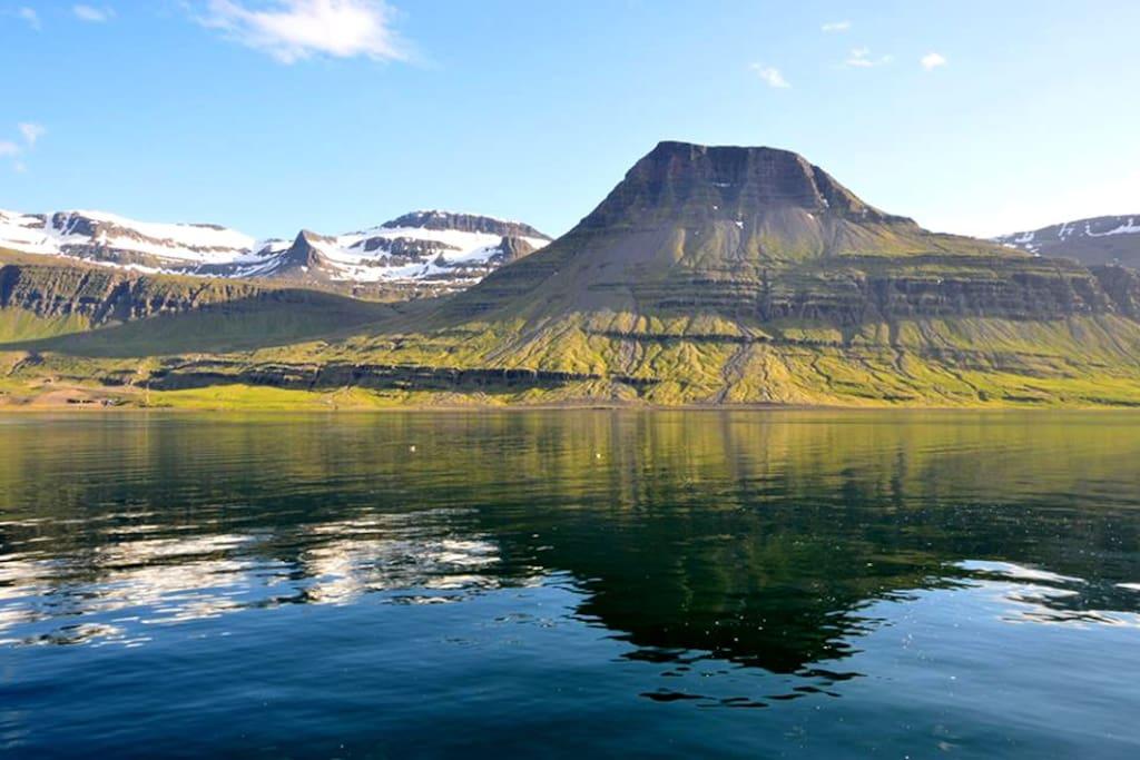 Main view of the beautiful mountains of Reyðarfjörður from our house.