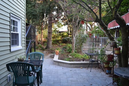 Stay in our lovely garden apartment, a 5 minute walk from beautiful Prospect Park.  We're in a safe/family neighborhood with culinary treats blocks away.  2 Aves from the R train and 8 blocks from the F/G trains.  Just 35 minutes from Union Square.