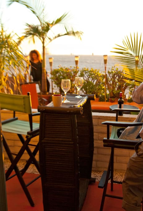 A sunset glass of wine from the beach front patio.