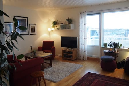 In walking distance from the centre of town (15 min), airport, train station and the boat harbour (from 20 to 30 min). This loft appartment has a lovely view to the mountains surrounding Bodø. There is a master bedroom with a double bed and a stud
