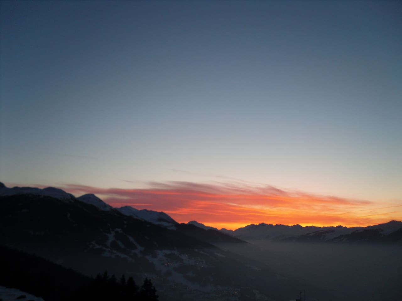 Sunset view from my balcony in Les Arcs.