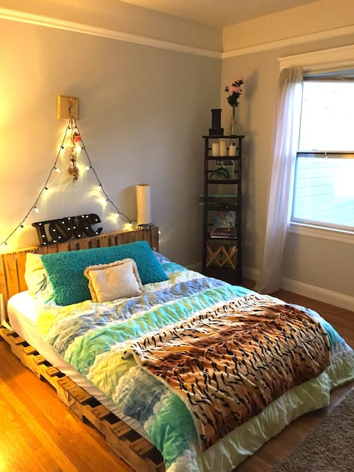 second bedroom with cool handmade bed